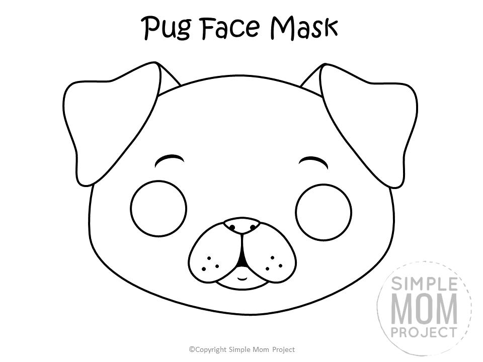 Free Printable Pug Dog Face Mask B&W