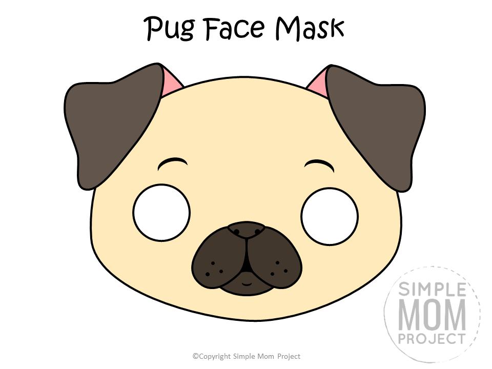 Free Printable Pug Dog Face Mask Colored