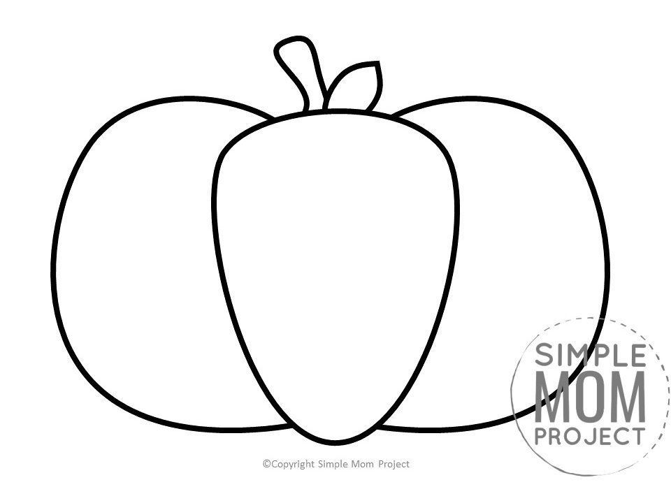 Printable Large Pumpkin Outline Template for fall Crafts Simple