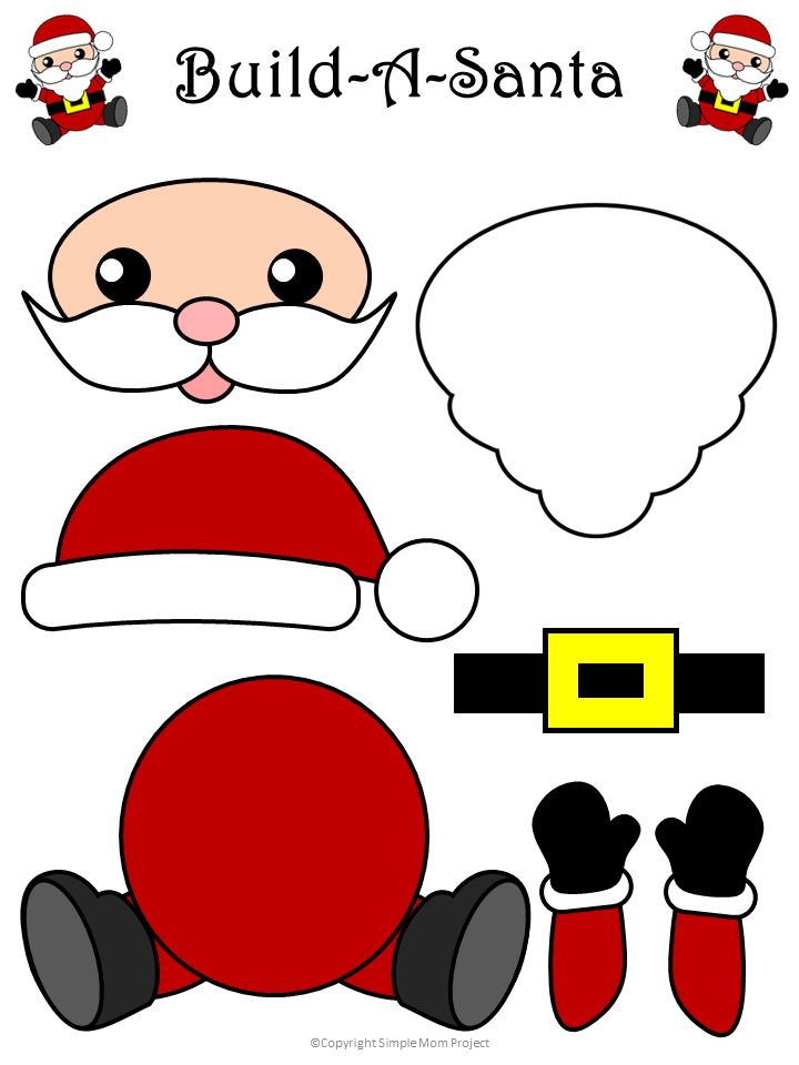 Free Printable Santa Craft for Kids, toddlers, and preschoolers Colored