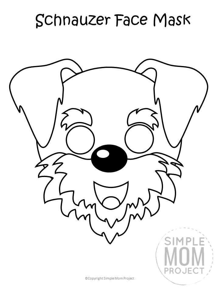 Free Printable Schnauzer Dog Face Mask B&W