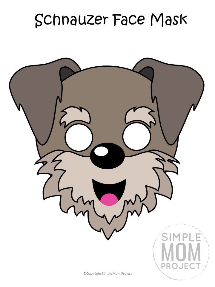 Free Printable Schnauzer Dog Face Mask Colored