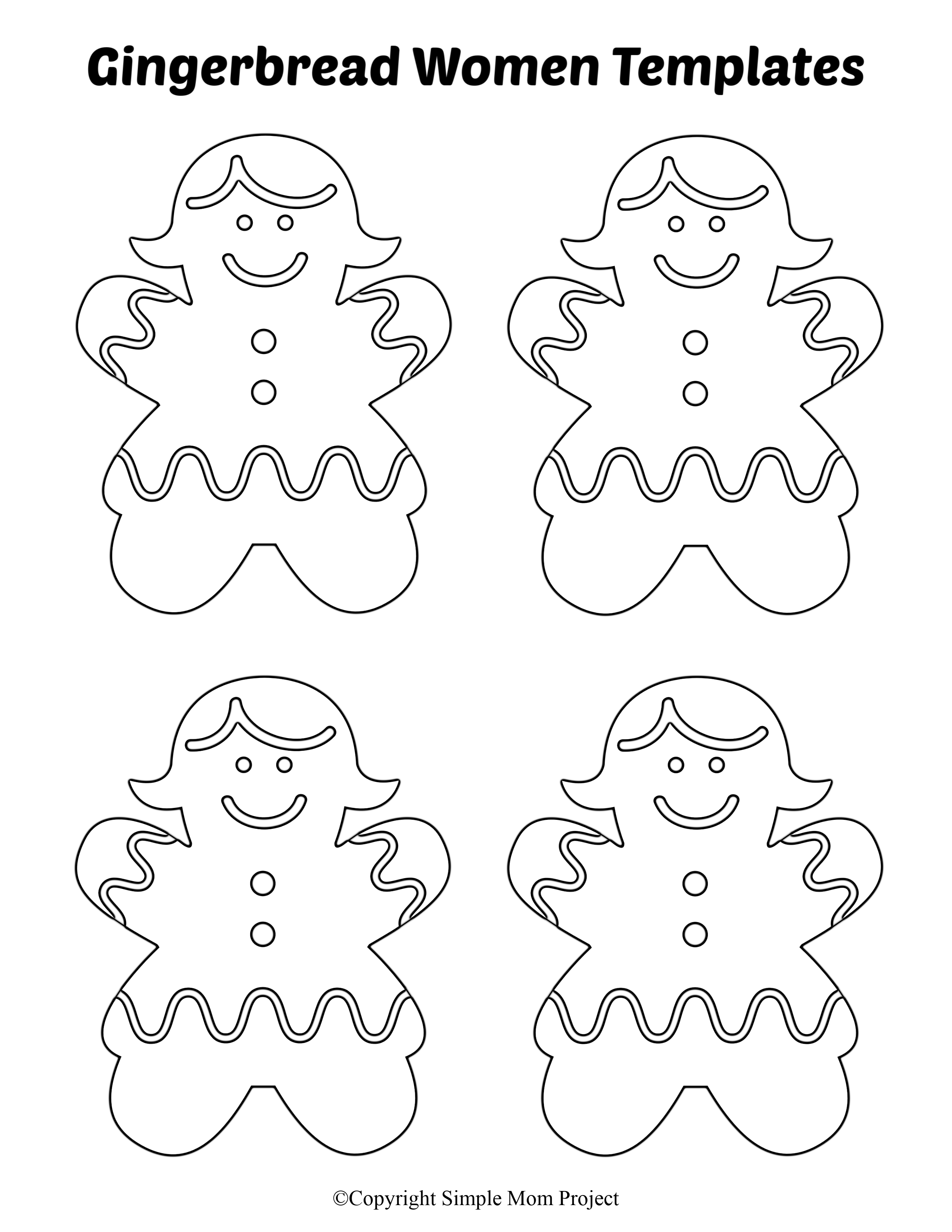 Free Printable Small Gingerbread Women Cutout Templates