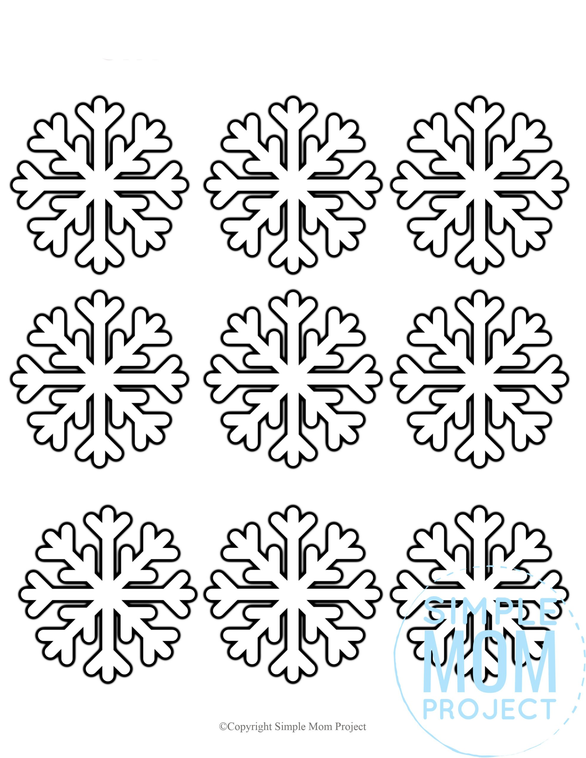 Free Printable Small Snowflake template, snowflake pattern, snowflake stencil, snowflake outline for kids winter crafts