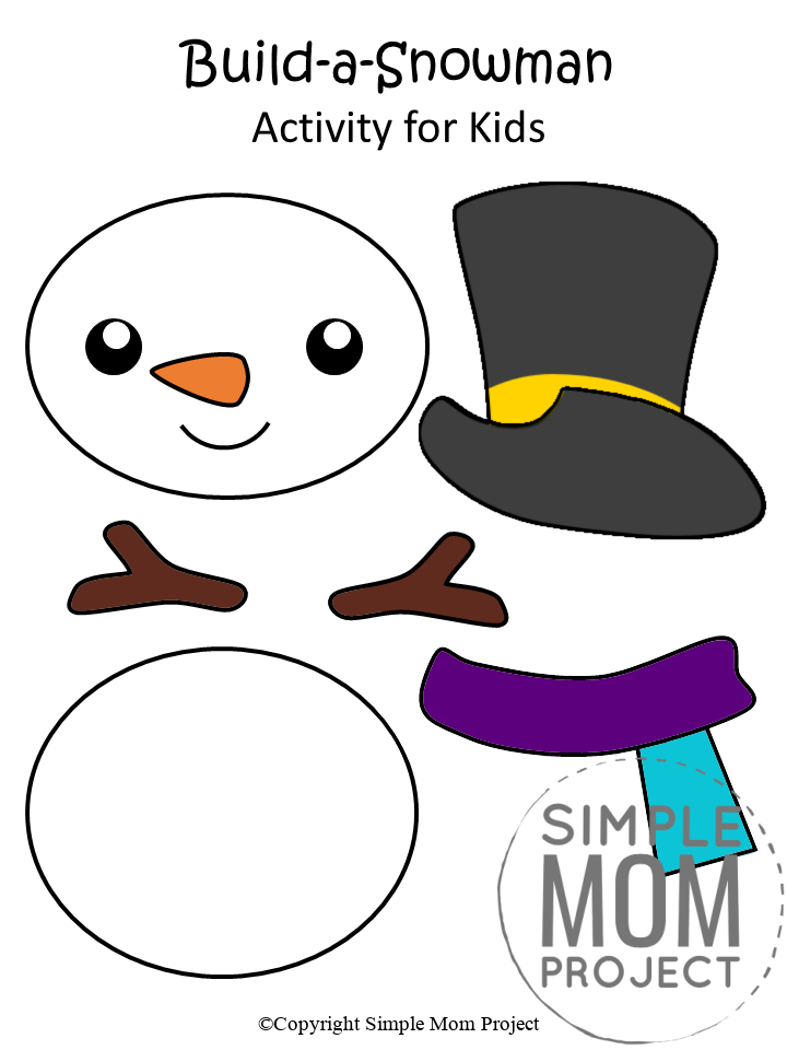 Free Printable Snowman Craft for Kids, preschoolers, toddlers and kindergartners