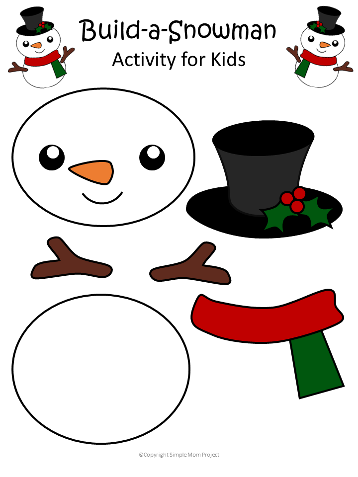Free Printable Snowman Craft for Kids, preschoolers and toddlers