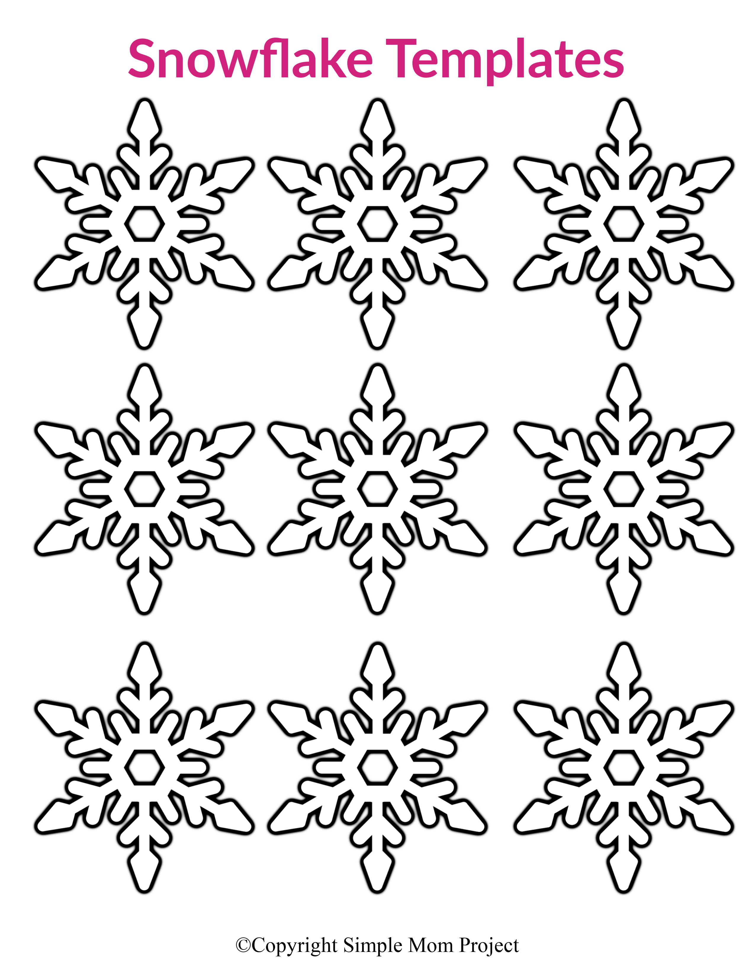 Free Printable Small Snowflake Patterns, Templates and Stencils