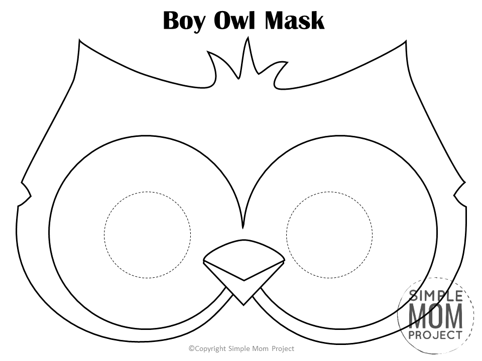 Free Printable Boy Owl Mask Template Coloring Page for Kids