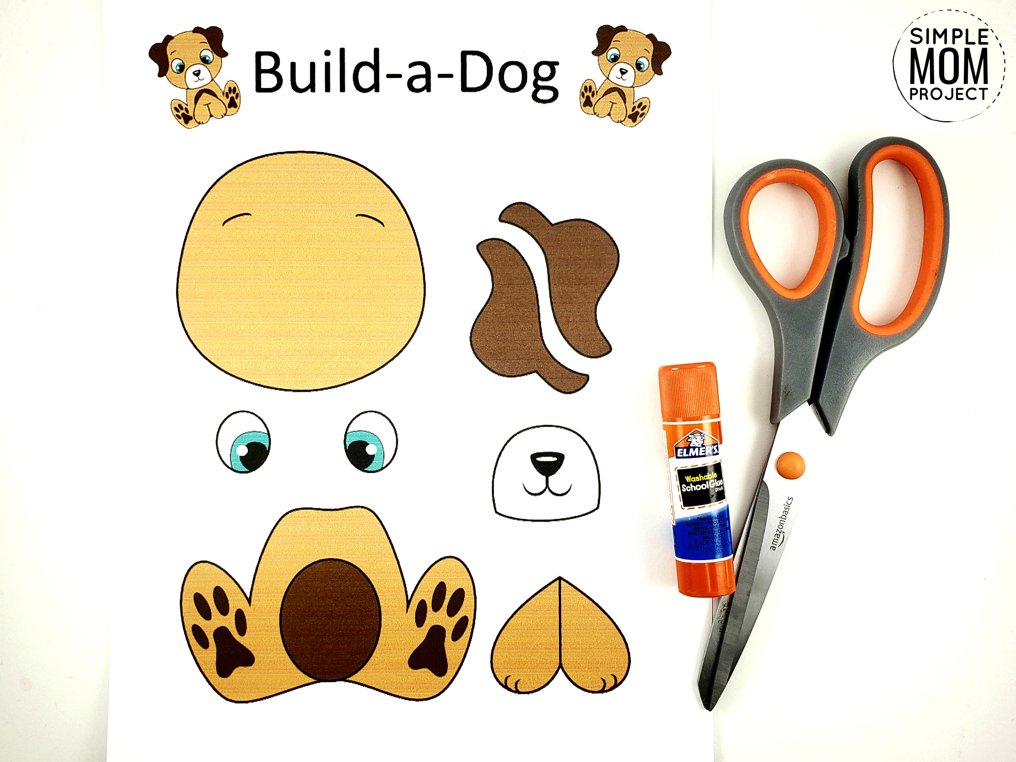 Free Printable Build a Dog Craft for Kids, Preschoolers, Toddlers and kindergartners 1