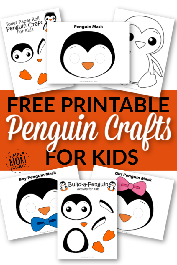Click now to see these cute and free penguin crafts. From printable penguin mask templates to printable build-a-penguin crafts, there's a penguin craft for everyone! Your toddler will adore coloring their cute penguin coloring page while your oldest enjoys turning a simple toilet paper roll into a fun arctic penguin! They are perfect for any winter snow day! #penguincrafts #printablepenguincrafts #penguin #wintercrafts #penguincoloring #SimpleMomProject