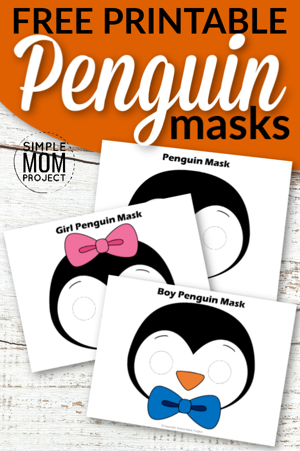 Put those paper plates away! You don't need them for this fun penguin craft. Cutout our free printable penguin mask templates to masquerade around the house with your preschool kids or turn any of these cute penguin masks into a coloring she activity with your toddlers! #penguin #penguincrafts #penguinmasks #printablecrafts #simplemomproject