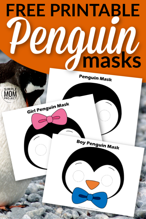 Free Printable Penguin Face Mask Templates for kids, preschoolers and toddlers