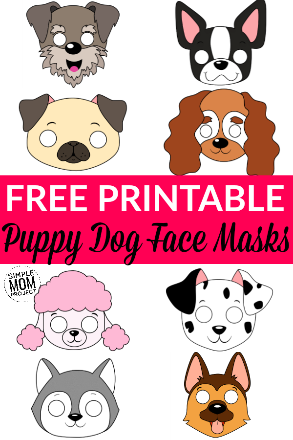 Free Printable Puppy Dog Face Mask Template Outline Cutouts