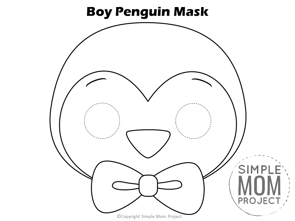 Free Printable Boy Penguin Mask for kids, preschoolers and toddlers to color