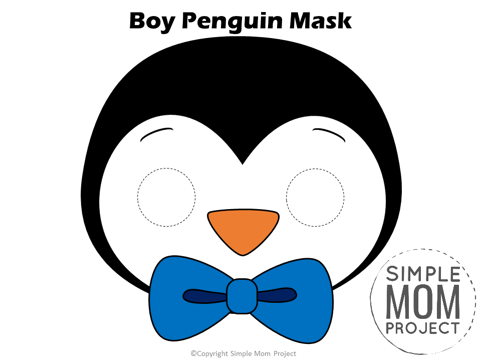 Free Printable Boy Penguin Mask Cutout for kids, preschoolers and toddlers