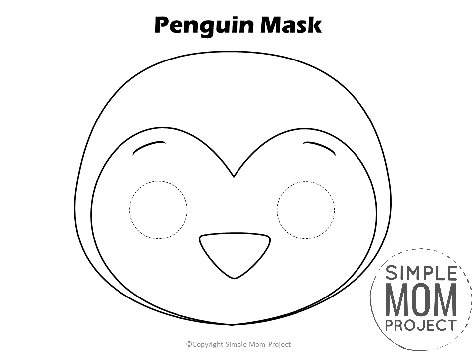 Free Printable Penguin Mask Template for kids, preschoolers and toddlers to Color
