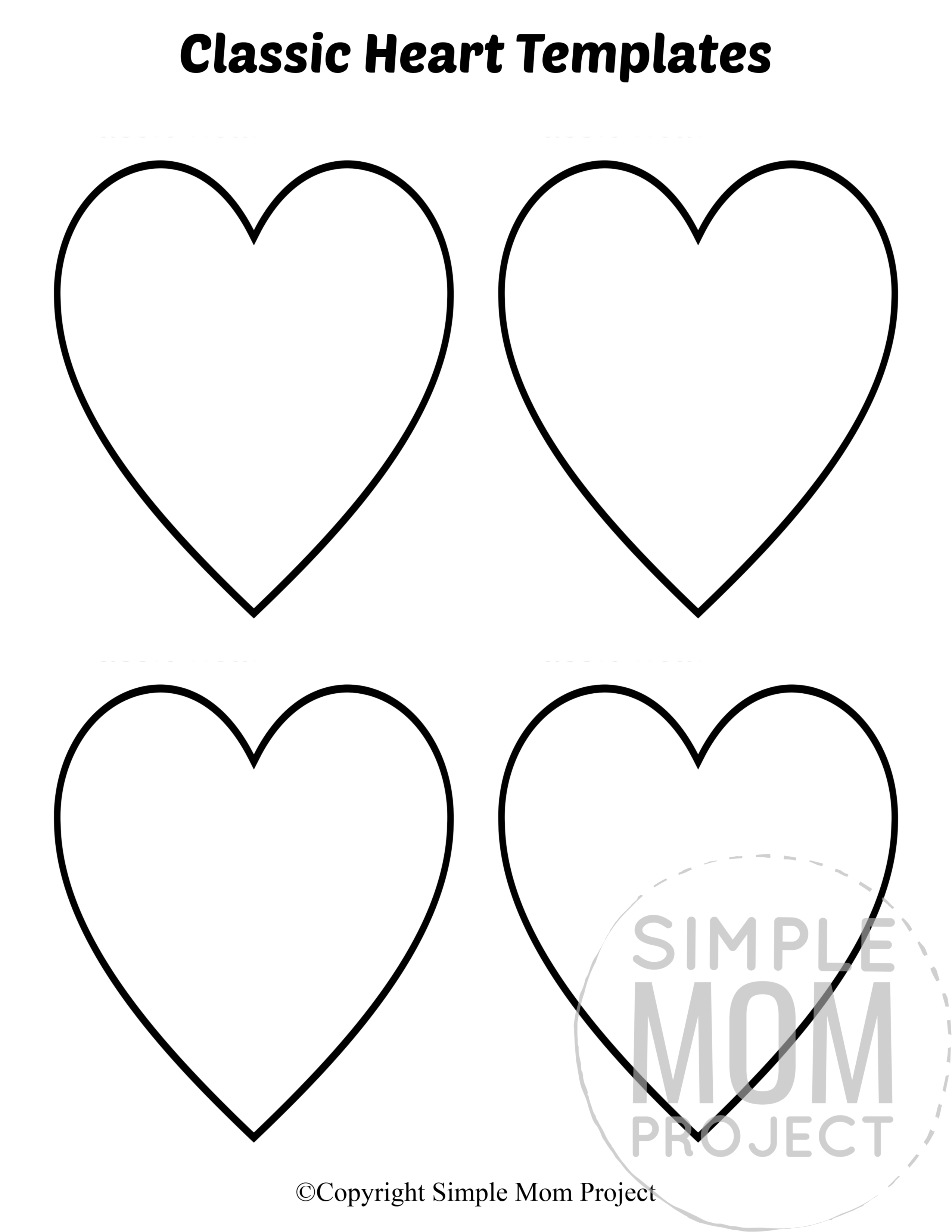 Free Printable Small Heart Shape Templates Simple Mom Project