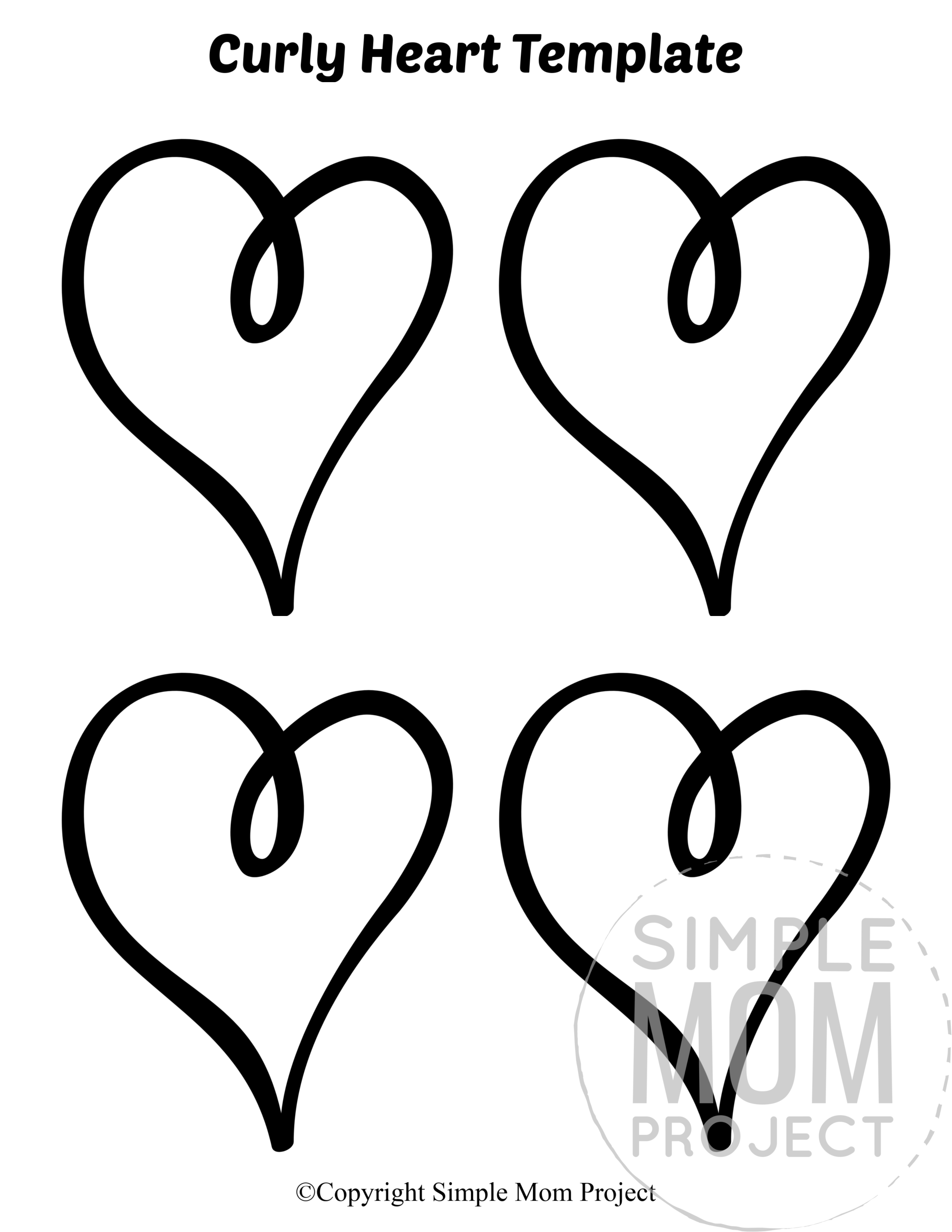 Curly Small Heart Shaped Template Full Page Cutout outline stencil