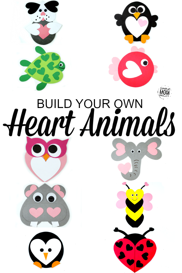 Cut and Paste Heart Animals for Kids