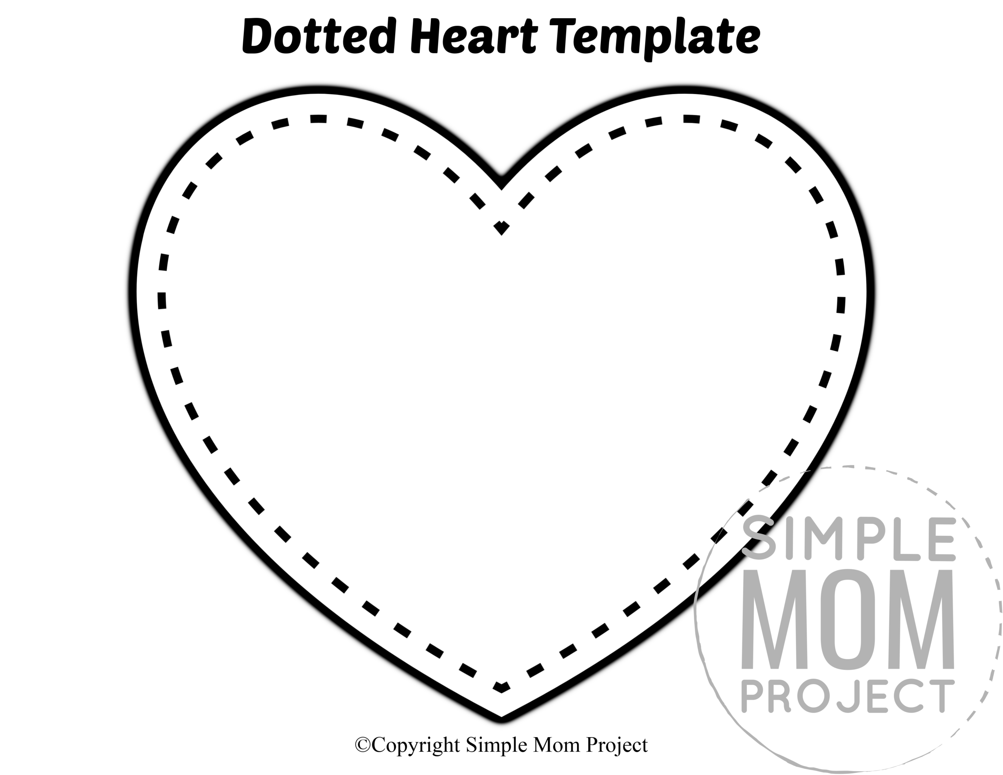Dotted Large Heart Shaped Template Full Page Cutout outline stencil