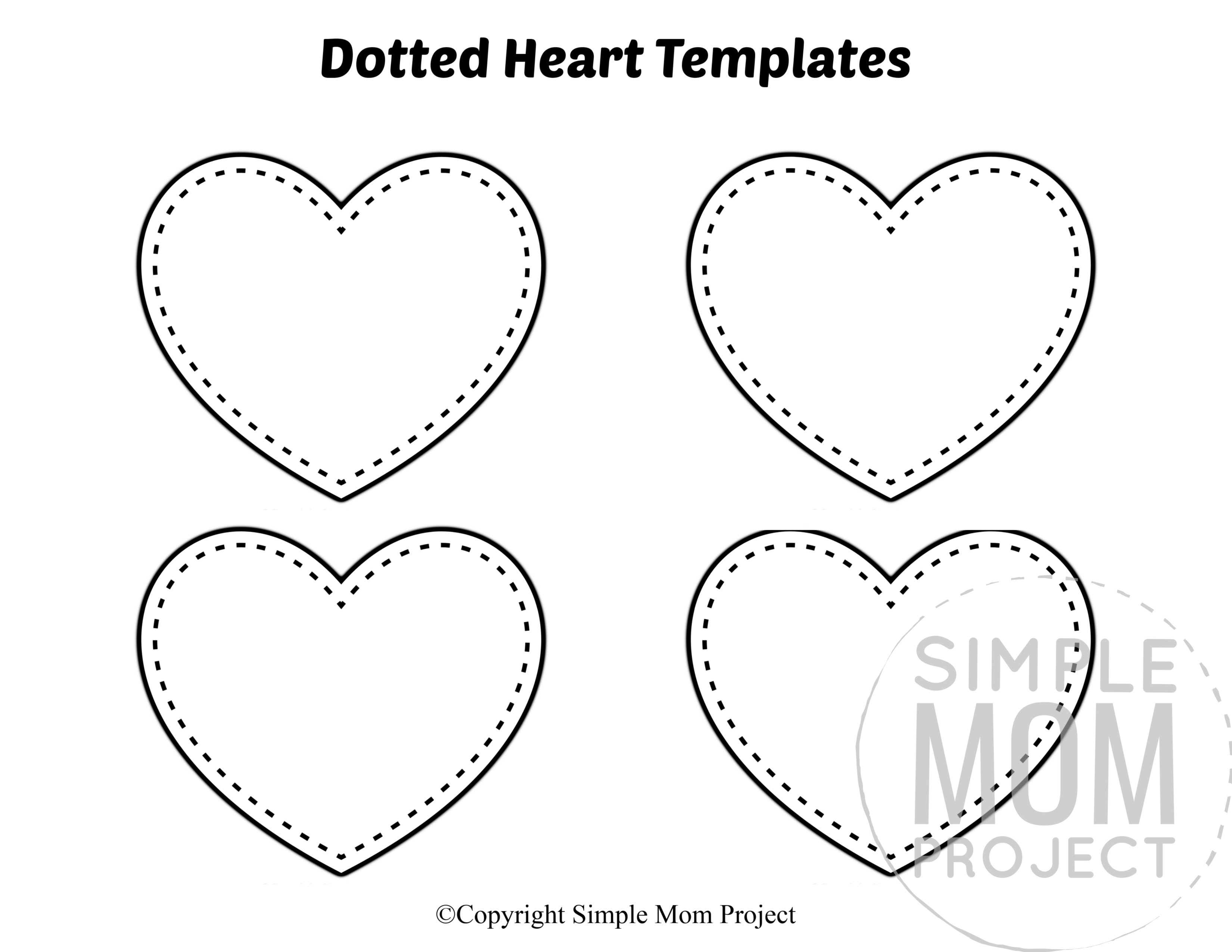 Dotted Small Heart Shaped Template Full Page Cutout outline stencil
