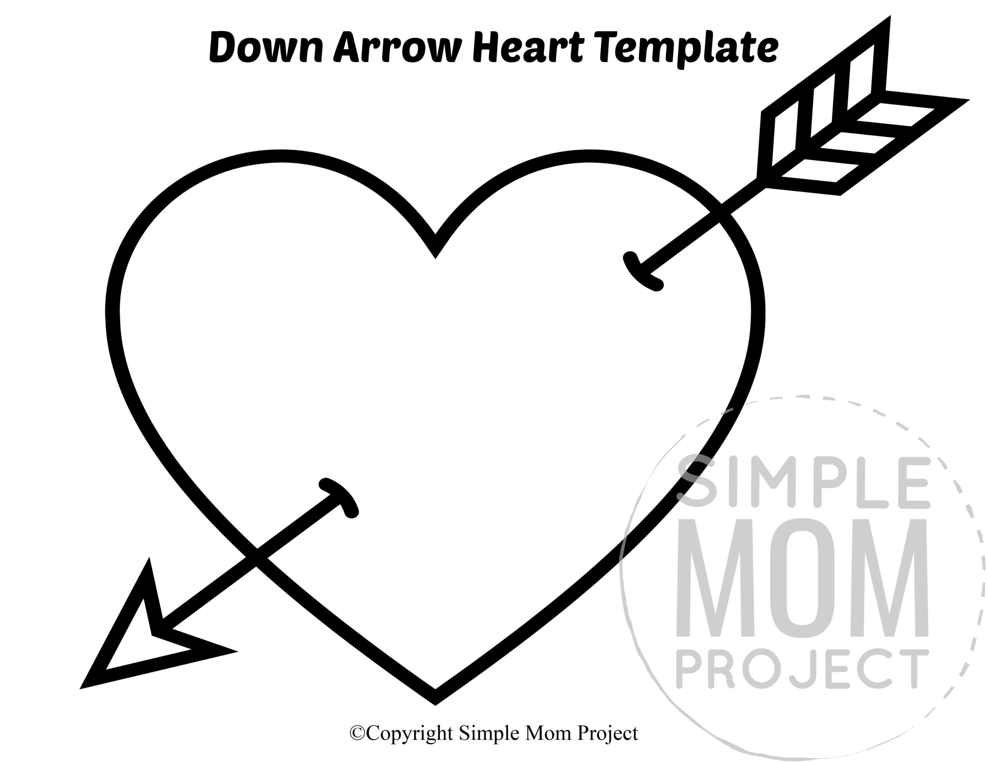 Down Arrow Large Heart Shaped Template Full Page Cutout outline stencil