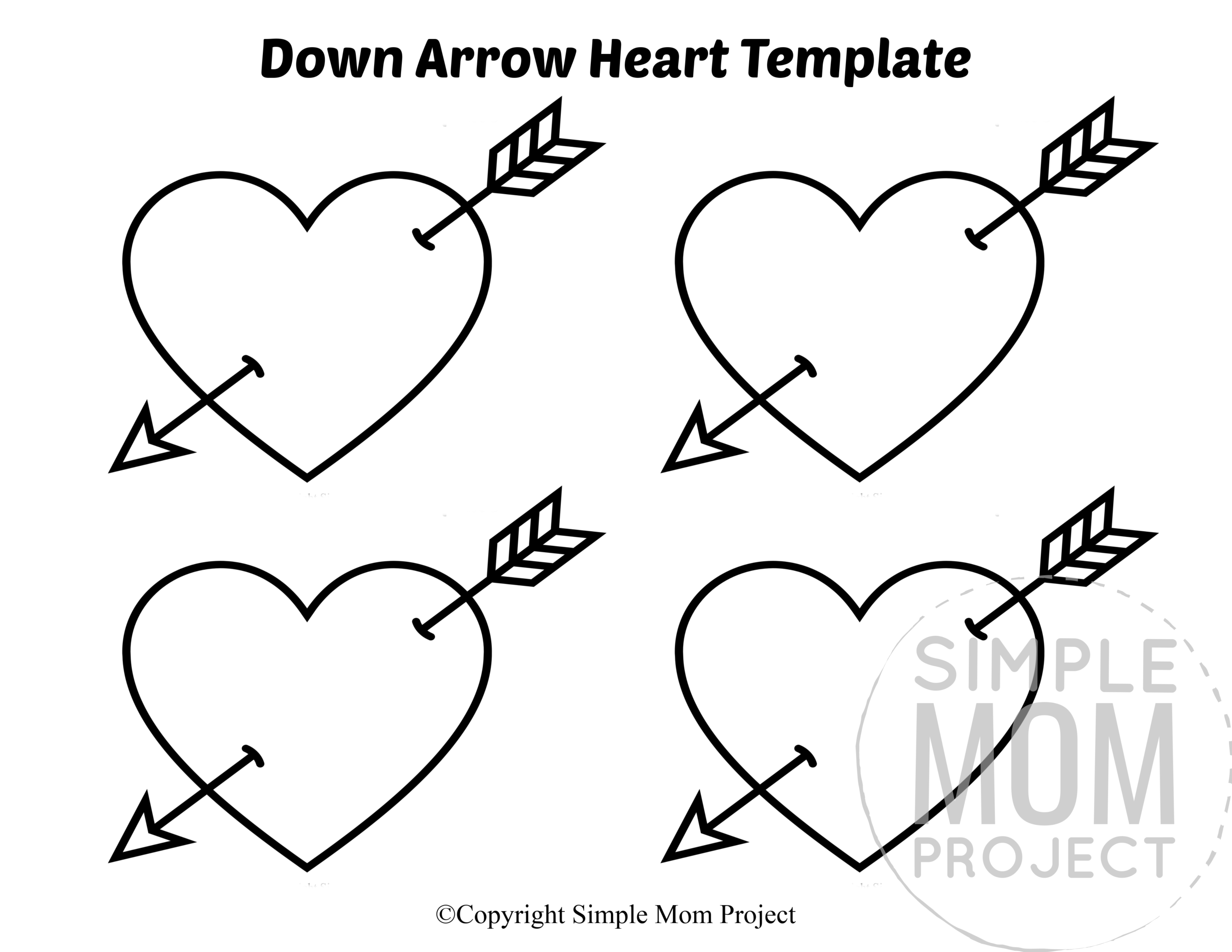 Down Small Heart Shaped Template Full Page Cutout outline stencil