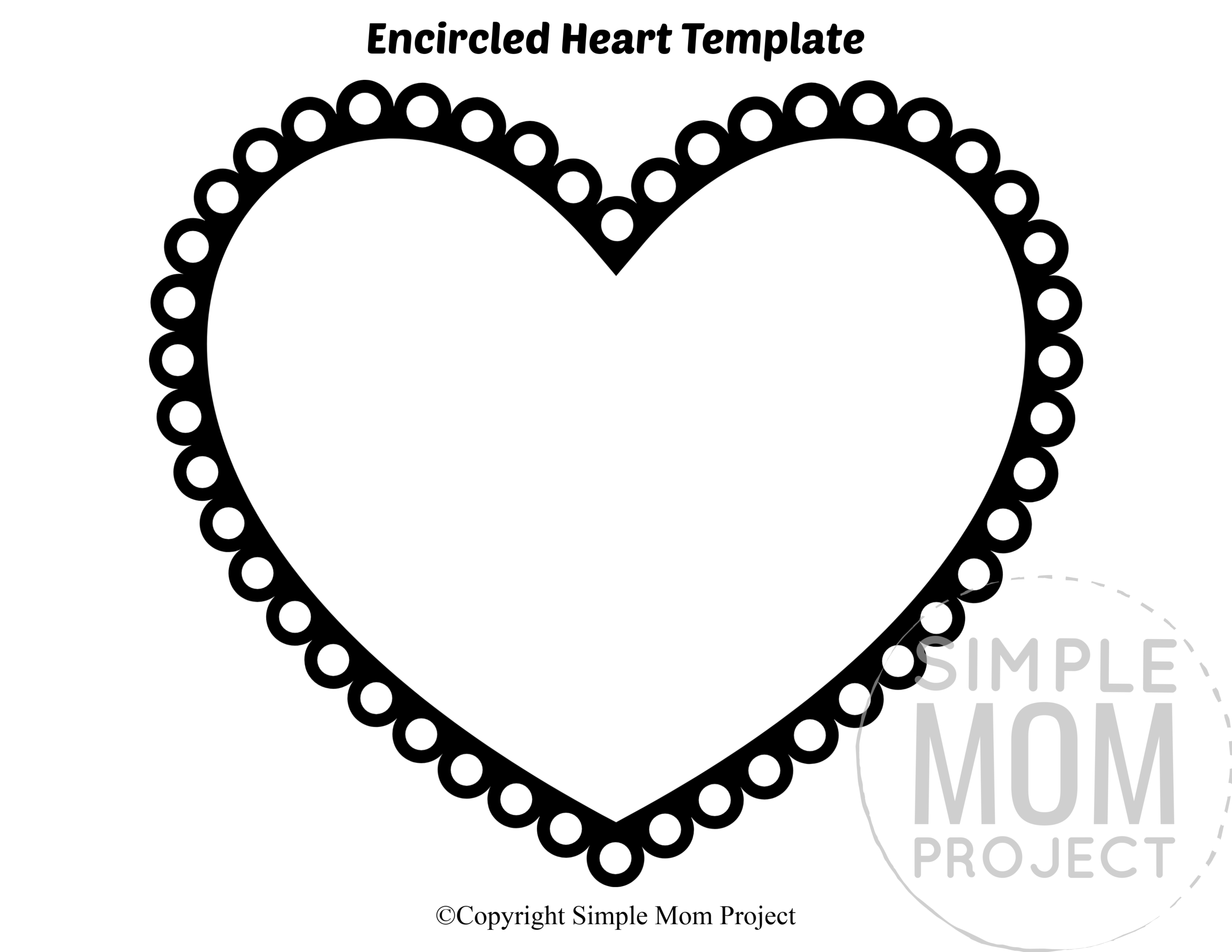Encircled Large Heart Shaped Template Full Page Cutout outline stencil