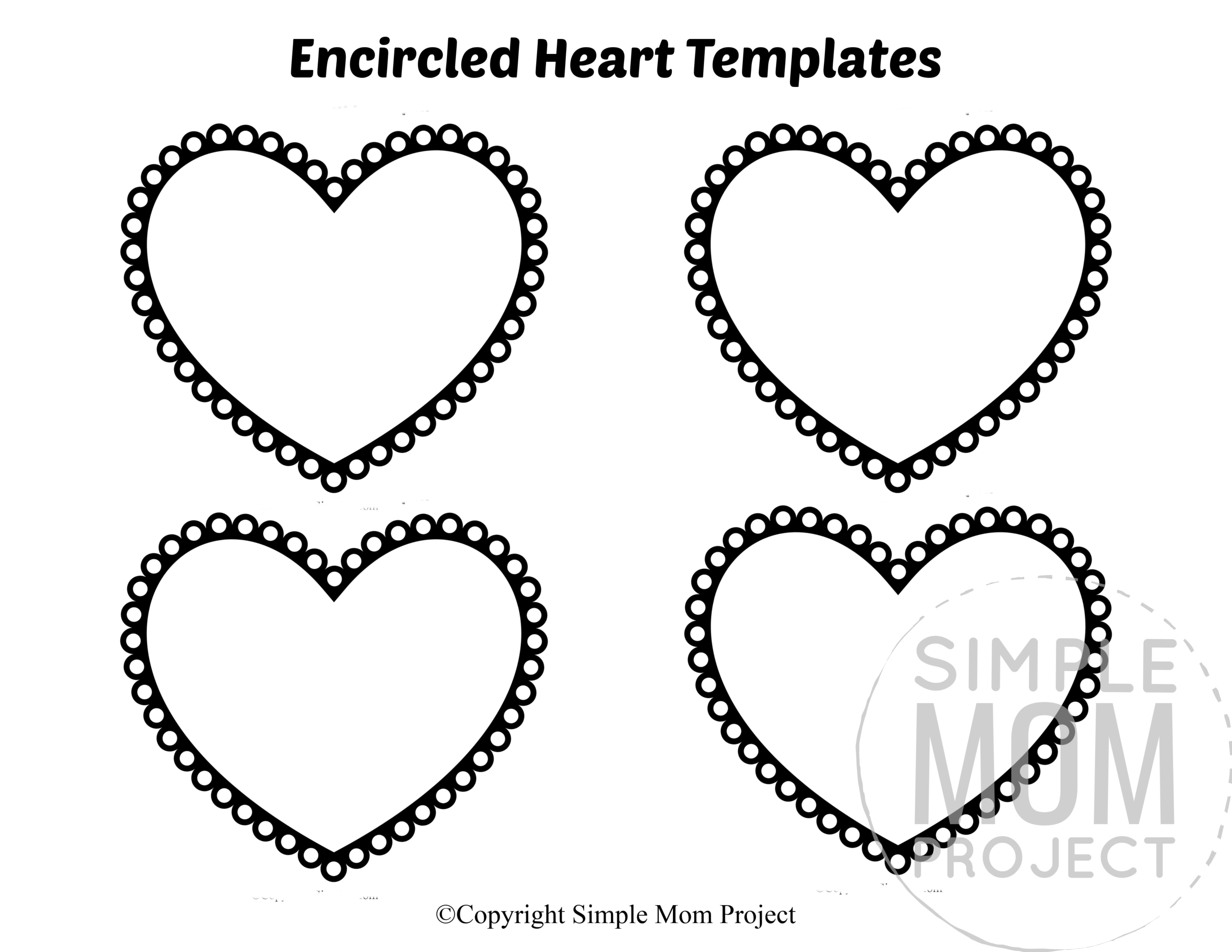 Encircled Small Heart Shaped Template Full Page Cutout outline stencil
