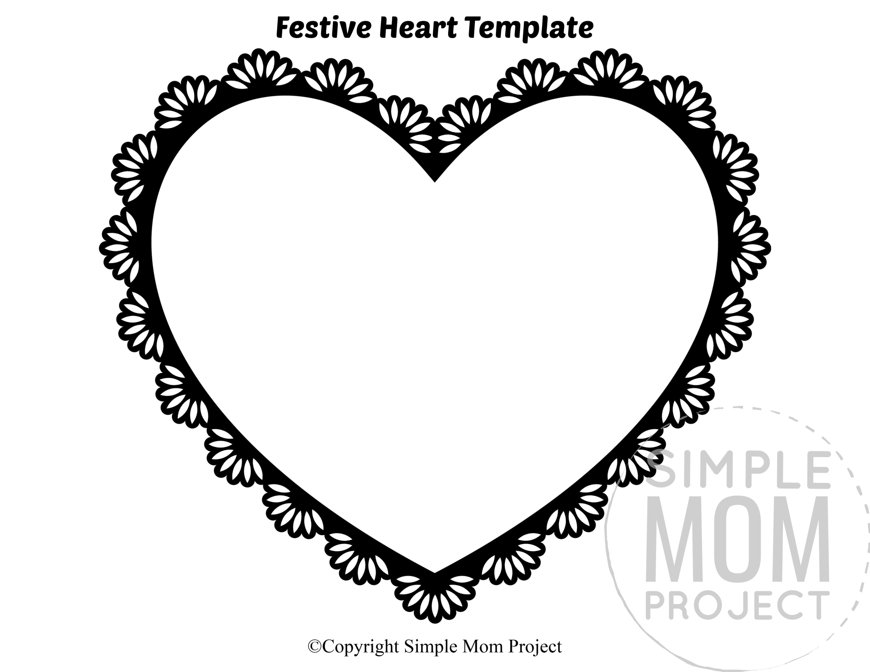 Festive Large Heart Shaped Template Full Page Cutout outline stencil