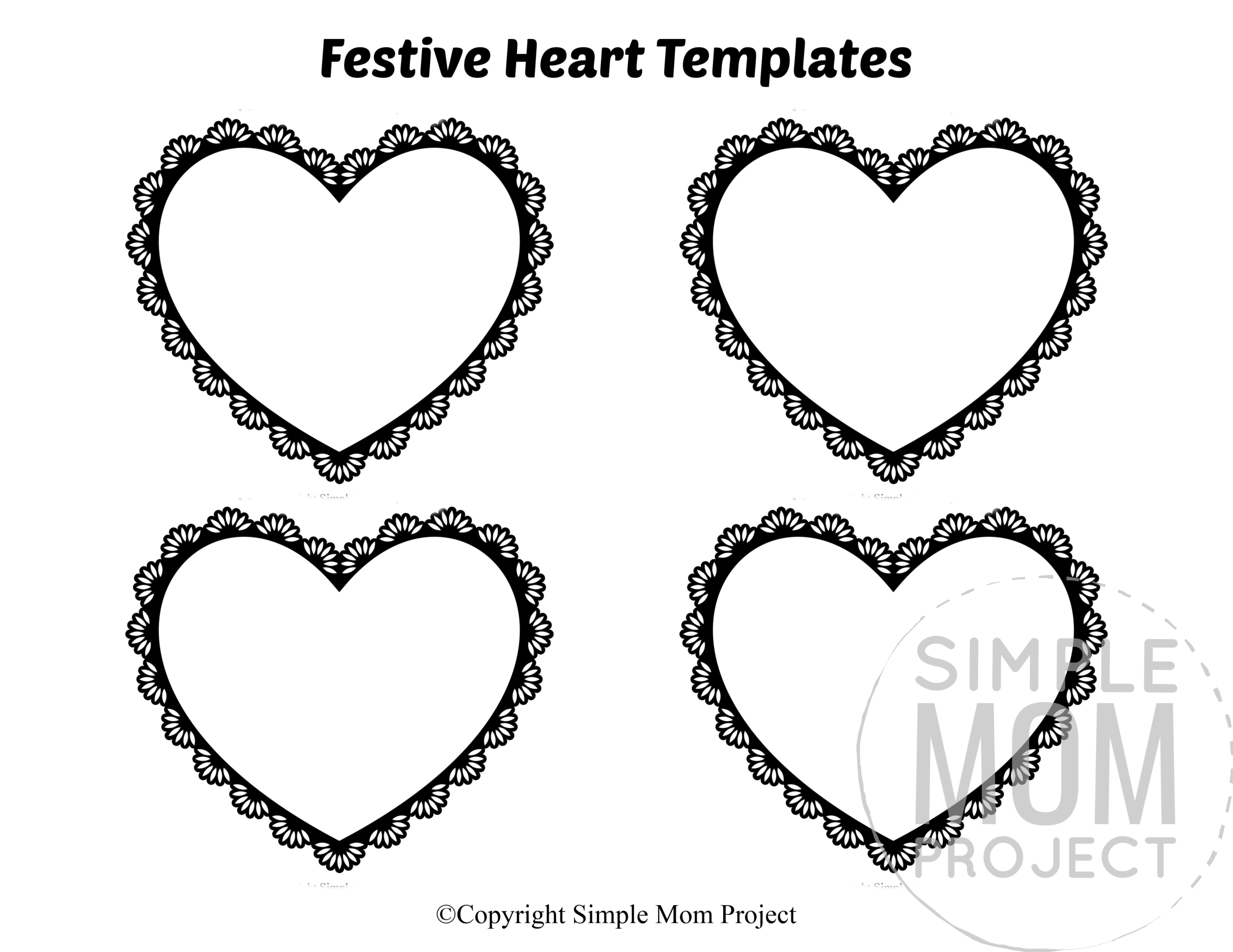 Festive Small Heart Shaped Template Full Page Cutout outline stencil