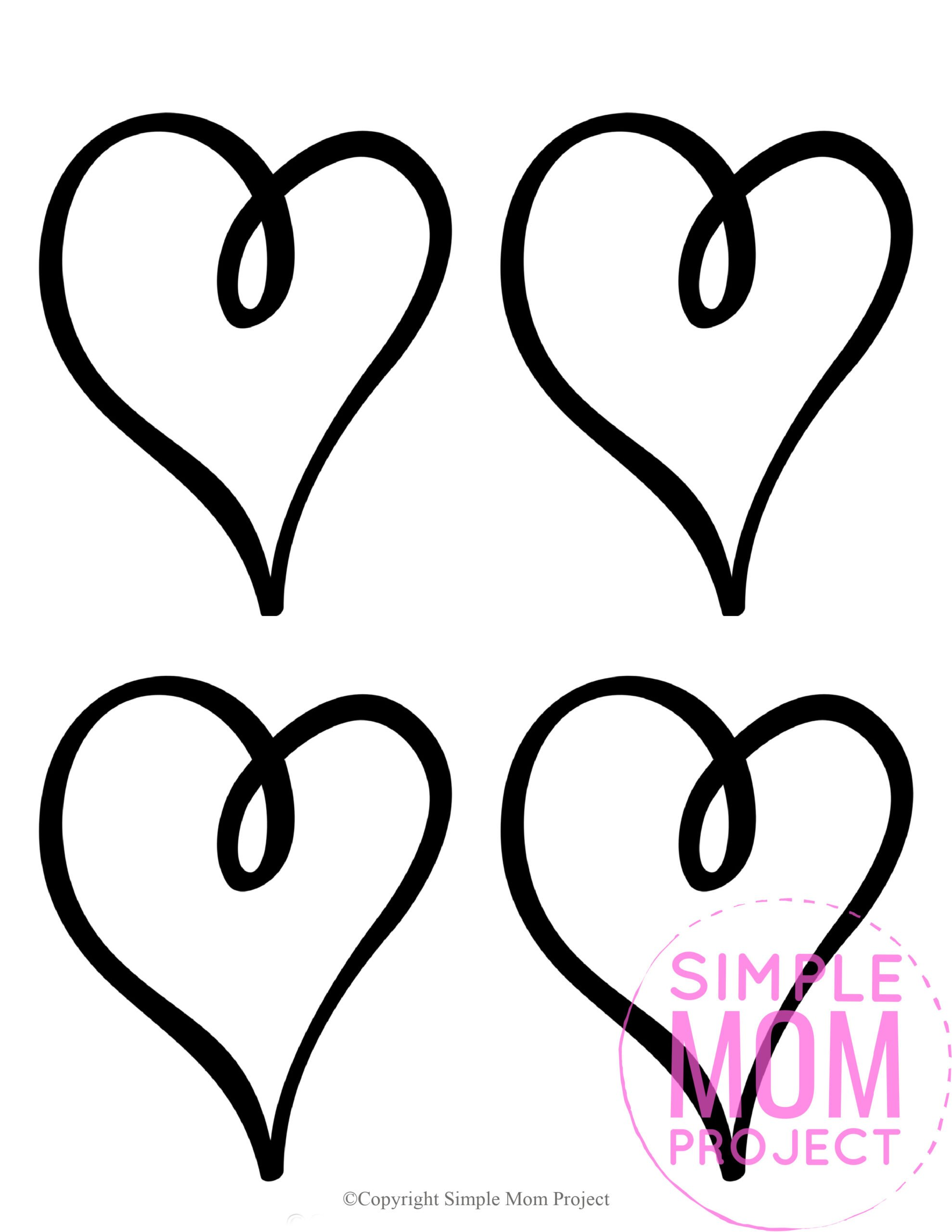 Free Printable Small Shape Heart Template heart stencil heart cut out heart outline