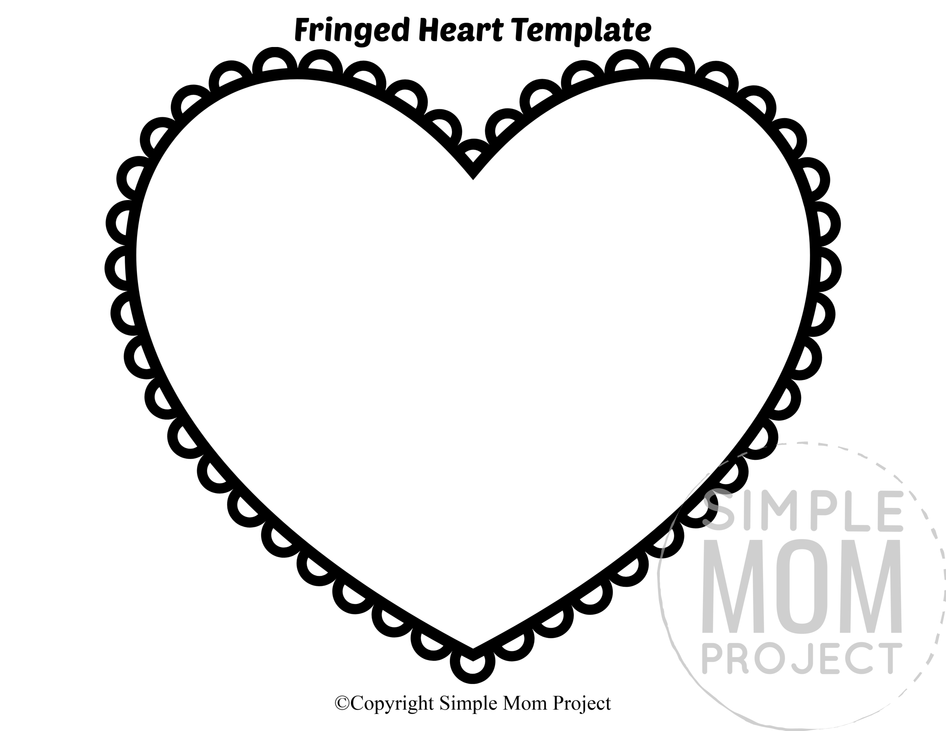 Fringed Large Heart Shaped Template Full Page Cutout outline stencil