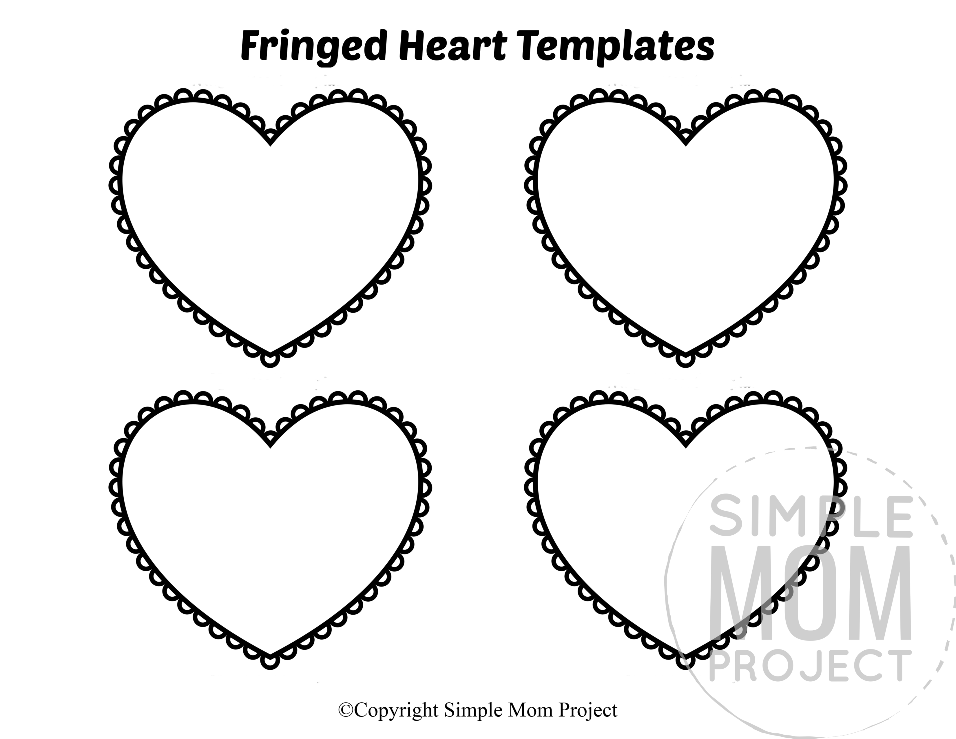 Fringed Small Heart Shaped Template Full Page Cutout outline stencil