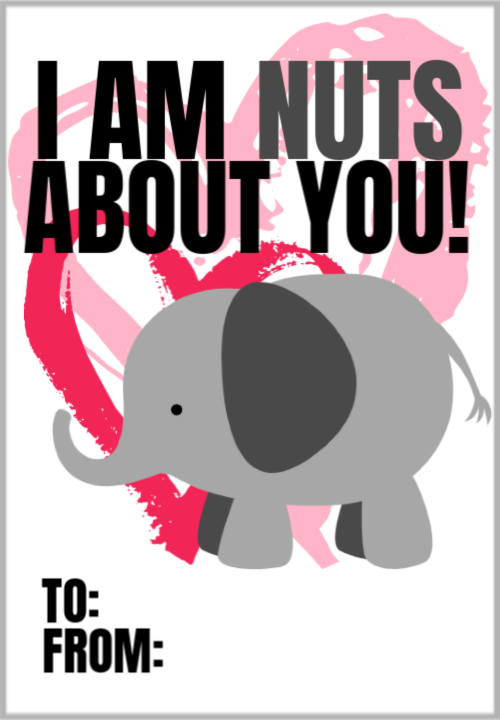 Free Printable Valentine's Day Elephant Cards for Love and motivation Kids and Adults Pin