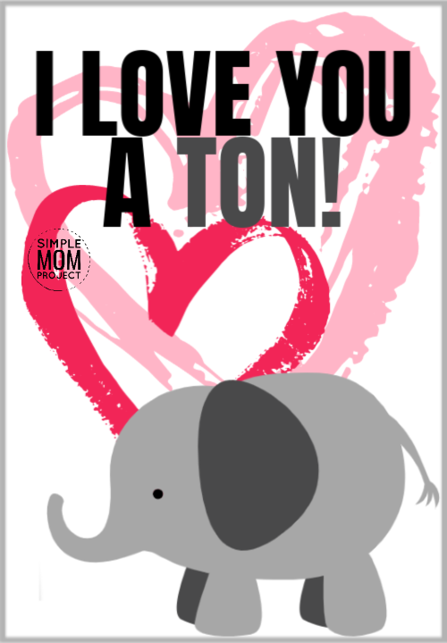 I love you a ton cute elephant saying quote pun