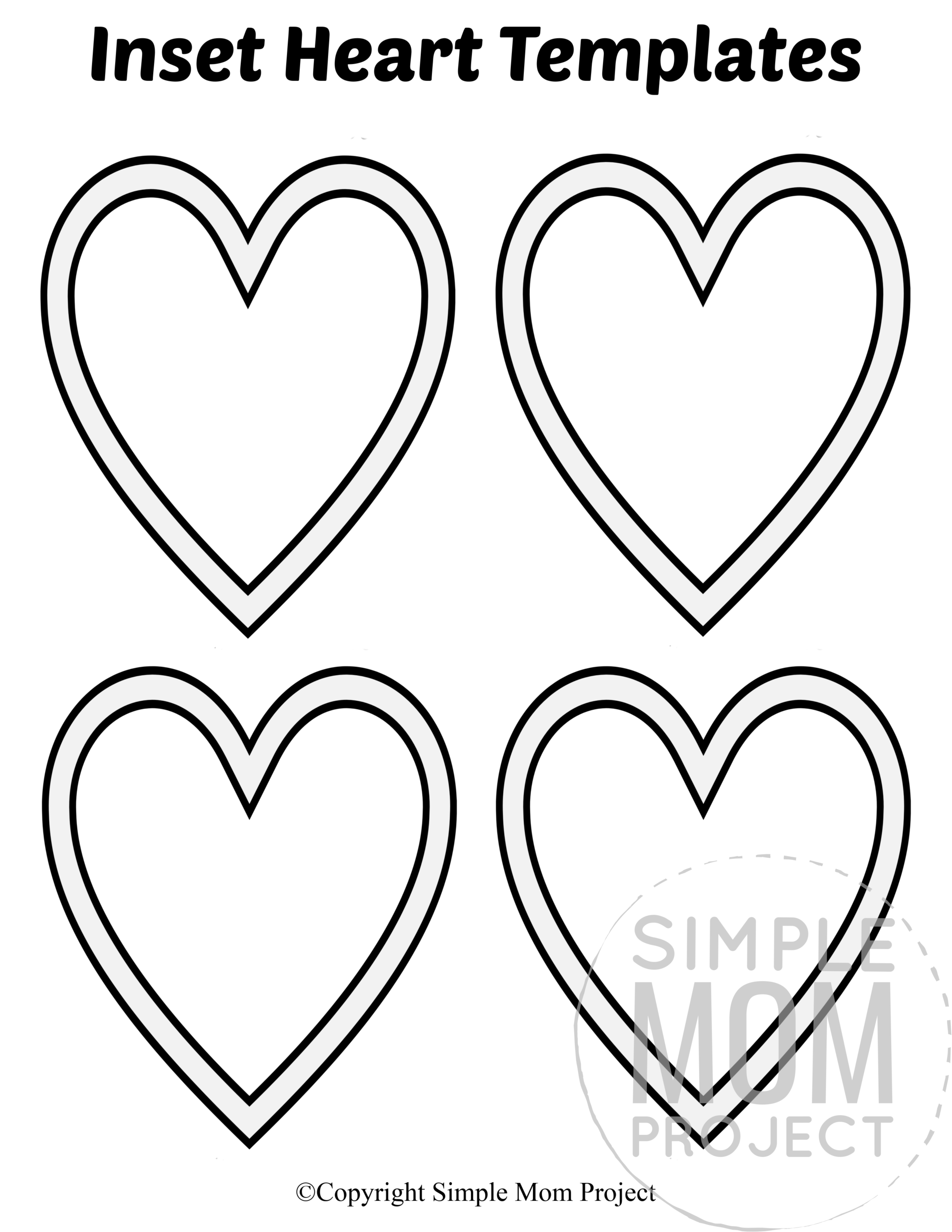 Inset Small Heart Shaped Template Full Page Cutout outline stencil