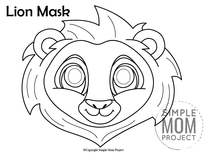 Printable Lion Mask Template for Kids Black and White