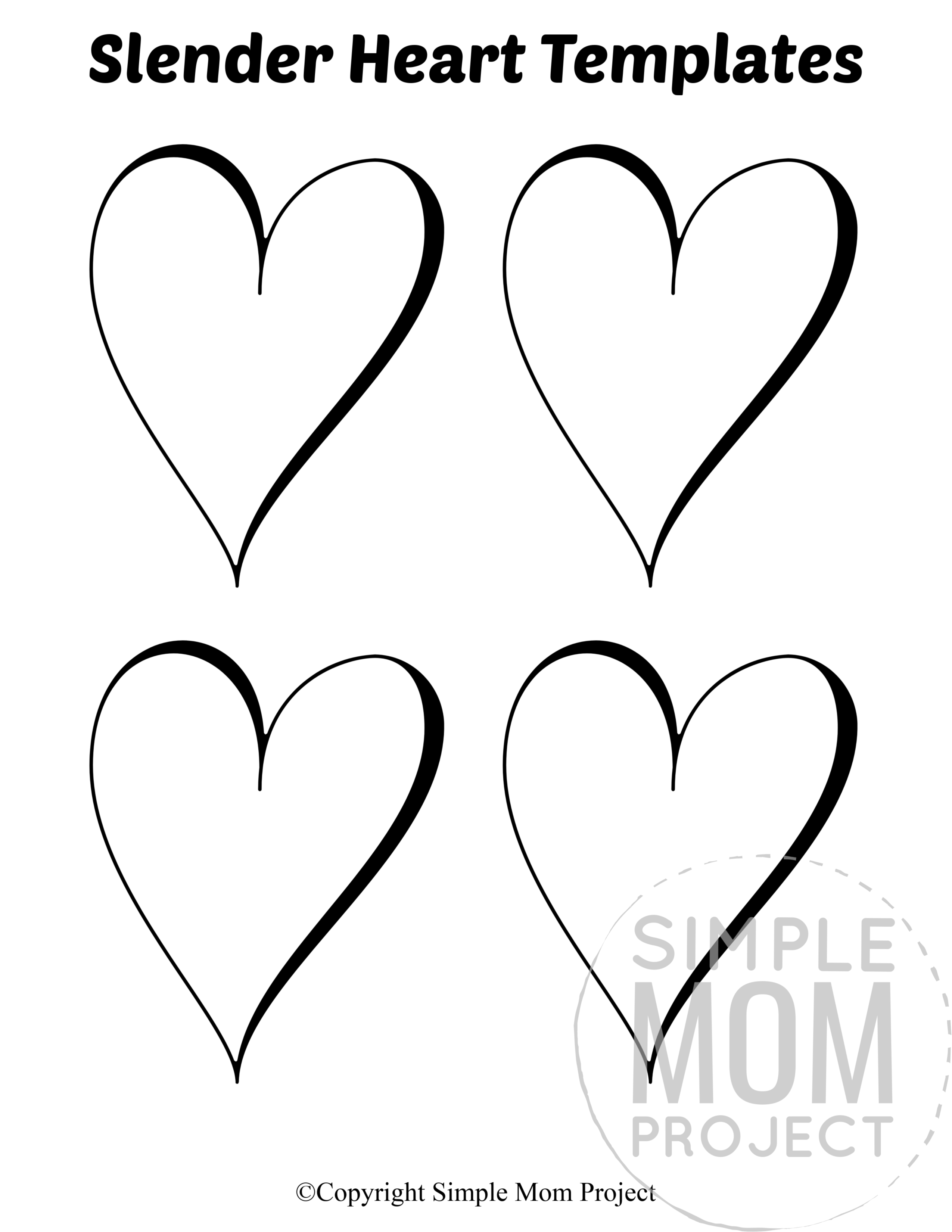 Slender Small Heart Shaped Template Full Page Cutout outline stencil