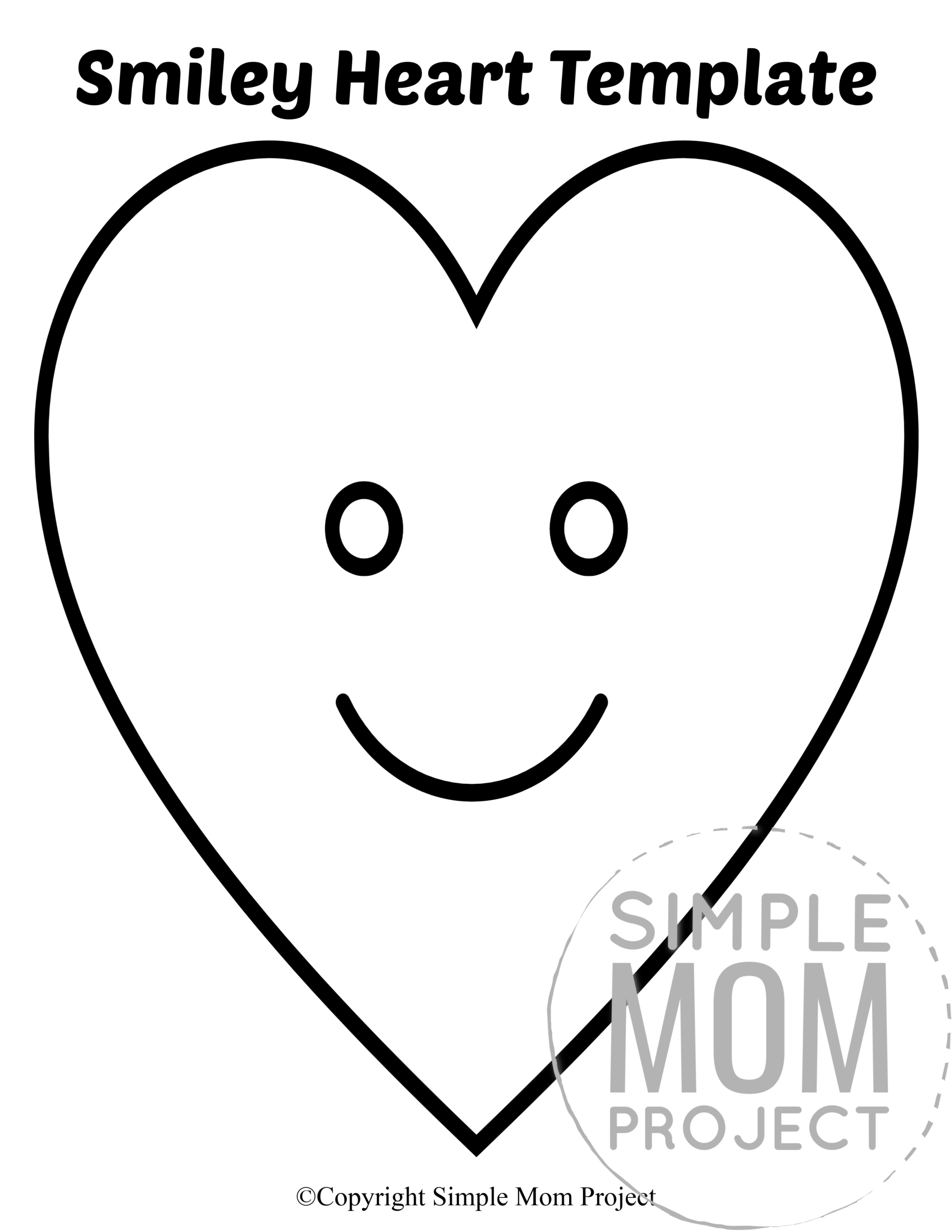 Smiley Large Heart Shaped Template Full Page Cutout outline stencil