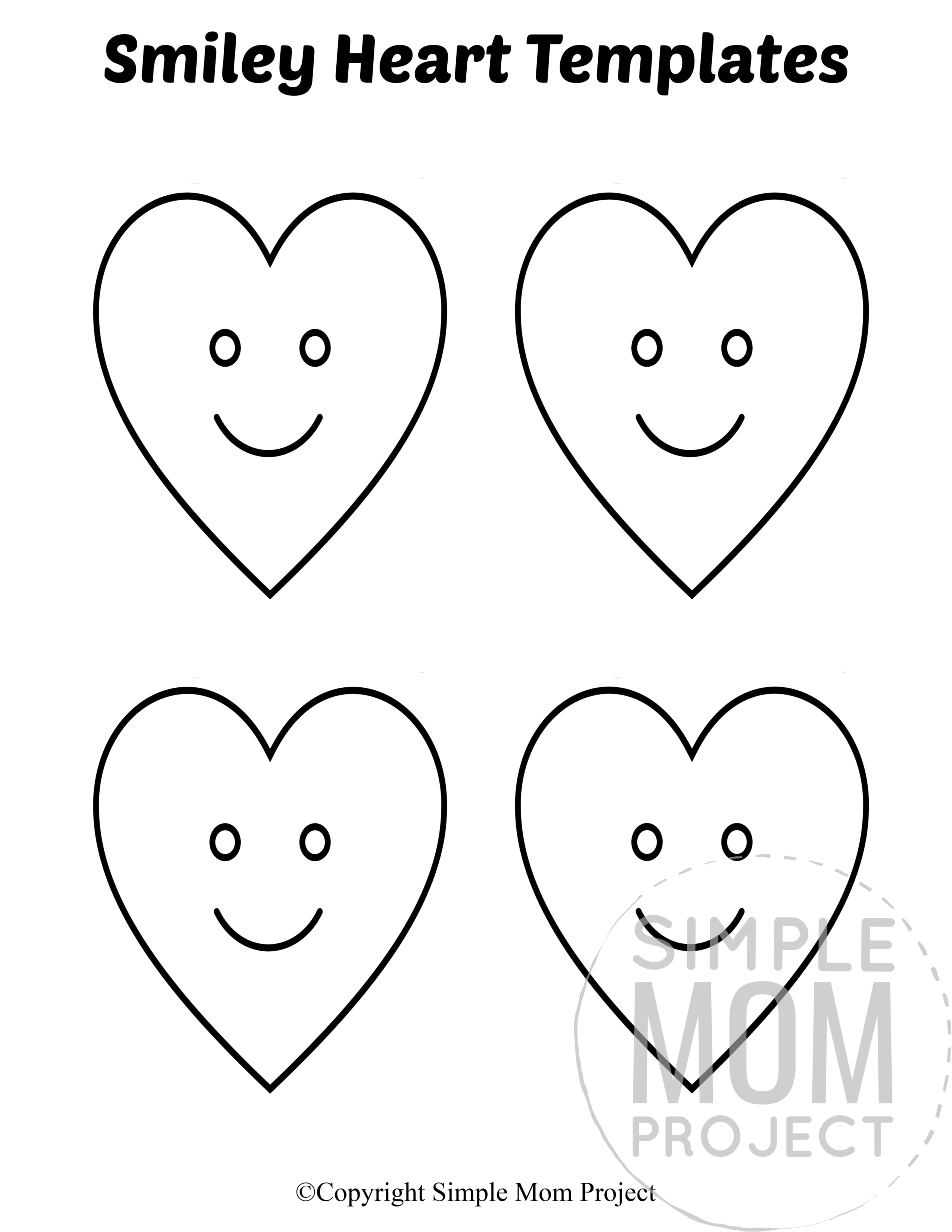 Smiley Small Heart Shaped Template Full Page Cutout outline stencil