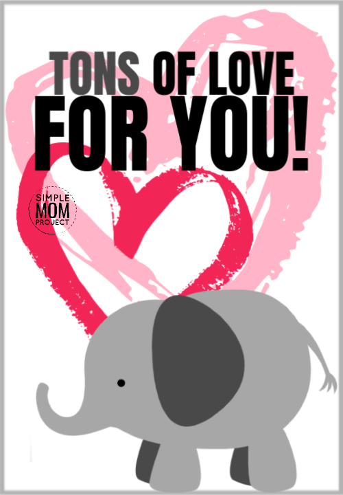 Tons of love for you cute elephant saying quote pun
