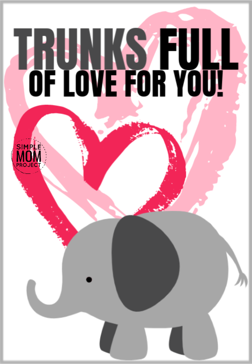 Trunks full of love for you cute elephant saying quote pun