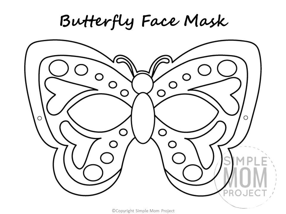 Butterfly Face Mask Template Coloring Page for Preschoolers, toddlers and kindergartners