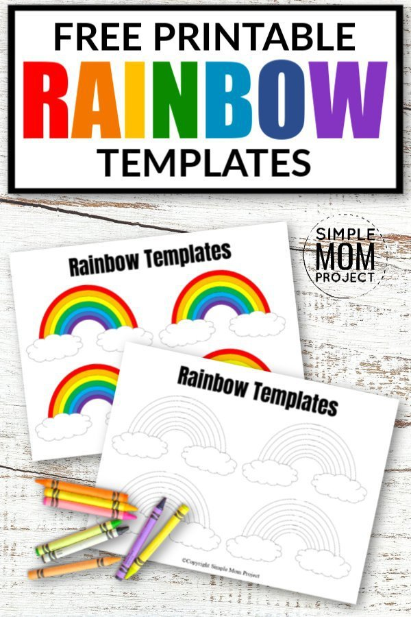 Free Printable Large and small Rainbow Template, Stencil and Cut outs 2