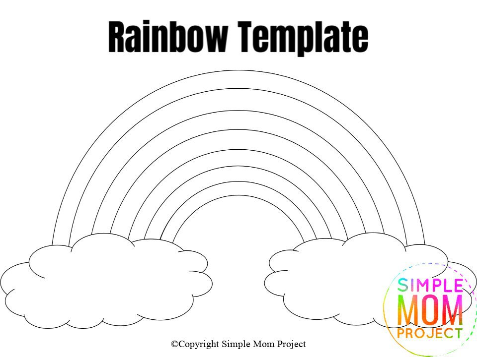 Large Rainbow Template Blank Coloring Page