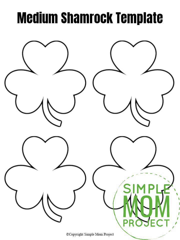 Medium Shamrock Template Free Printable cut out traceable stencil