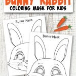Click and get this simple FREE printable bunny mask coloring page template! This bunny face mask is a perfect craft cut out animal mask to do with your kids or a fun coloring activity while they study about rabbits! #BunnyMask #BunnyColoringPage