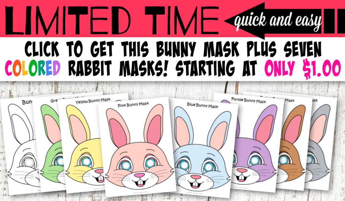 Printable bunny mask template cut out craft for kids