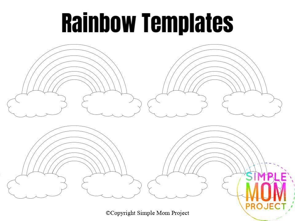 Small Rainbow Template Blank Coloring Sheet